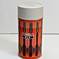 Vintage thermos orange and brown, antique themos fork and spoon design retro coffee thermos camping thermos