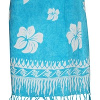 Womens Short Wrap Skirt Blue Floral Printed Bohemian Skirts L