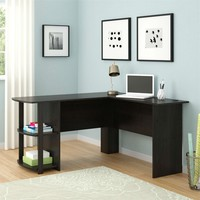 Dark Russet Cherry Corner Computer Desk With Shelves Provides Large Work Area