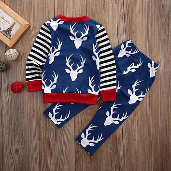 baby Boys clothes cotton long sleeve Deer t-shirt+pants kids 2pcs suit baby boy clothing sets infant clothing