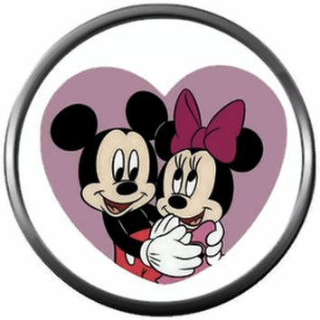 Mickey Mouse And Minnie Mouse Hug In Heart Happy Valentines Day Celebrate Holiday 18MM - 20MM Snap Jewelry Charm