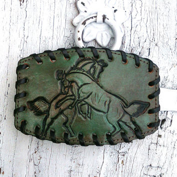 Green Leather Western Hand Tooled Horse Belt Buckle Cowgirl Rodeo