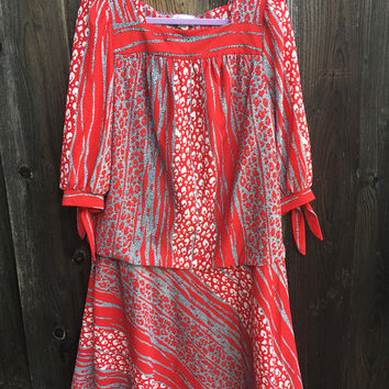 Vintage Dress / Plus-Size / Animal Print / XL Red Dress / Red / Black / Gray / Cinched Skirt / Rare / Designed by Riccardo / Very Detailed