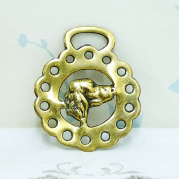 Spaniel or Setter Horse Brass, Dog Horse Brass, Horse Tack, Cast Buckle, Horse Ornament, Horse Medallion, Equestrian, Solid Cast Brass