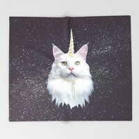 Unicorn Cat Throw Blanket by Oh Monday