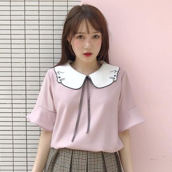 Kawaii Cat Embroidery Collar Blouse