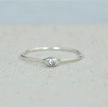 Dainty Silver Diamond Dew Drop Mother's Ring