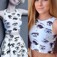 Comic Book Eyes Crop Top