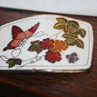 Women's Enameled Brass Butterfly Belt Buckle