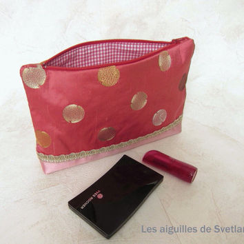 Makeup case of red silk handmade tapestry fabric makeup pouch red pink bag zipper pocket embroidered gold circles on red silk kit