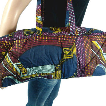 Vintage Duffle Bag, African Wax Print Duffel Bag, Cylindrical Cloth Bag Purse Carry On Tote Quilted African Handmade 90s Hip Hop Afrocentric