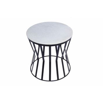 Drum Shaped Round Marble Top Side/ End Table, White By The Urban Port