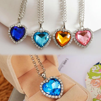Heart Of Ocean Crystal Rhinestone Inlaid Heart Shaped Pendant Necklace = 1839022788