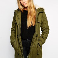 Brave Soul Cotton Twill Parka With Badge Placement