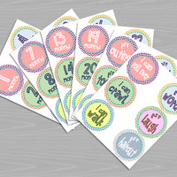 """3 1/3"""" Circles - Monthly Baby Shirt Stickers - PHOTO PROP - Milestones, Firsts, Newborn to 24 Months - Baby Shower Gift Idea"""