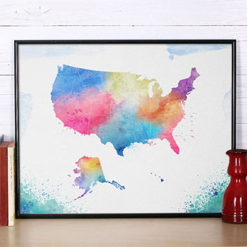 USA map Art Print Watercolor USA Poster Art Illustration World map Artwork USA map wall art Home Decor