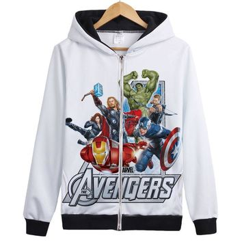 marvel avengers Hoodies Super hero Iron Man  hulk Captain America Hawkeye Black Widow Thor Anime Jacket Coat hoody Many Styles