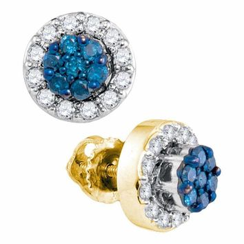 10kt Yellow Gold Women's Round Blue Color Enhanced Diamond Flower Cluster Earrings 1-2 Cttw - FREE Shipping (USA/CAN)