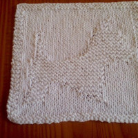 White Hand Knitted West Highland Terrier Cotton Picture Dish Cloth or Wash Cloth