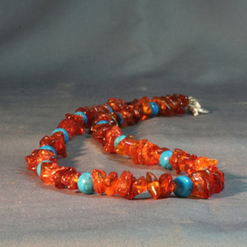 Baltic amber necklace, Cognac amber and turquoise necklace, rusty orange sky blue