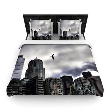 KESS InHouse Seattle Skyline by Sylvia Cook Woven Duvet Cover