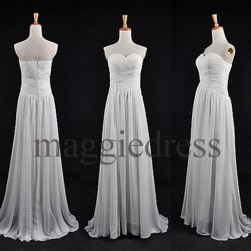 Custom White Simple Long Prom Dresess Bridesmaid Dresses 2014 Evening Gowns Formal Party Dresess Homecoming Dresses Party Dress Formal Wear