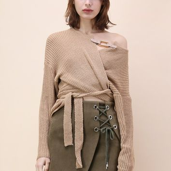 Knit Your Zeal Wrapped Top in Light Tan