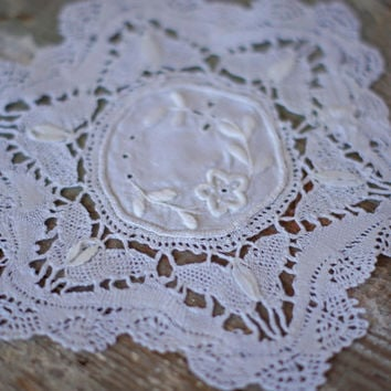 Vintage Embroidered Linen Coaster Pair with Beautiful wide butterfly and crocheted scalloped border, White pair, doily doilies