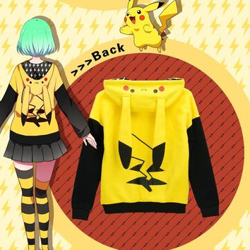 Pokemon Go Pikachu cosplay anime hooded Autumn and winter thick warm hoodie  coat lovely Japanese cartoon women