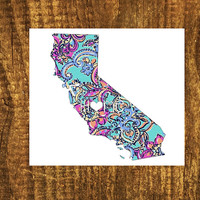 LILLY PULITZER California Home Decal | California State Decal | Homestate Decals | Love Sticker | Love Decal  | Car Decal | Car Stickers|045