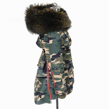 New 2017 Women's Pink Large Raccoon Fur Collar Parkas Real Fur Hooded Coat Camouflage Outwear Detachable Liner Winter Jacket