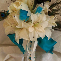 Peacock Feather Wedding Bouquet White Lily Bridal Bouquet- Wedding Accessory