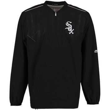 Men's Chicago White Sox Majestic Black On Field Cool Base Training Half-Zip Jacket