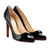 mulberry - bow leather and patent-leather pumps