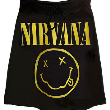 Nirvana Acid Smiley Face Print T-Shirt Skirt