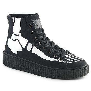 Demonia Skeleton Unisex Ankle Height Creeper Sneakers