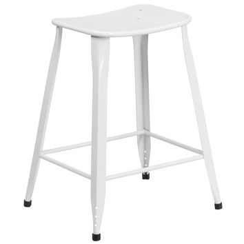 24'' High Metal Indoor-Outdoor Counter Height Stool