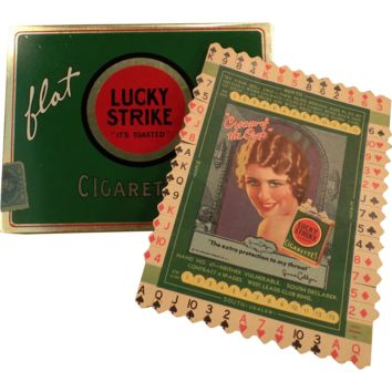 Vintage Lucky Strike Flat Fifties Cigarette Tin with Original Old Bridge Card – June Collyer No. 47