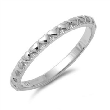 925 Sterling Silver Heart Beaded Pattern Designer Band Ring 2MM