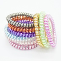 10 pcs fashion telephone wire hair bands elastic gum spring scrunchy for women children girls headband Hair Accessories