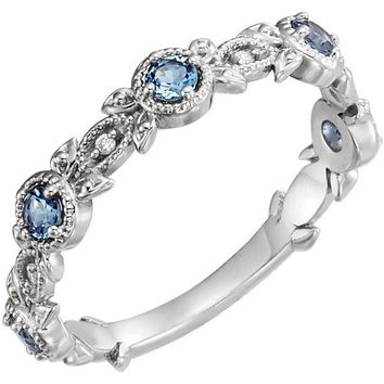 Aquamarine and Diamond Band