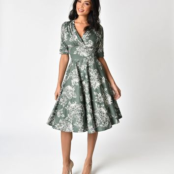 Unique Vintage 1950s Sage Green Floral Delores Swing Dress with Sleeves