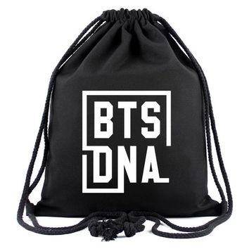Boys bookbag trendy New Canvas Drawstring Bags For Women BTS Cartoon Backpack Fashion Shopping Bags School Bags For Teenage Girls  AT_51_3