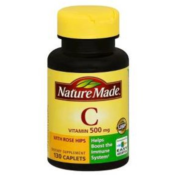 Nature Made Vitamin C 500 mg with Rose Hips Caplets - 130 Count