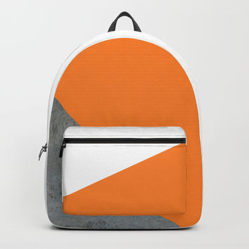 Concrete Tangerine White Backpack by ARTbyJWP