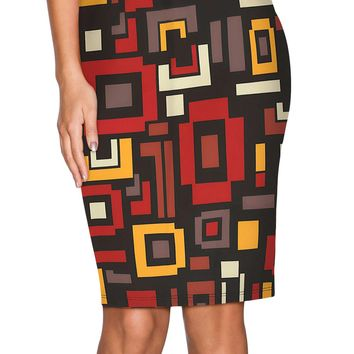 Irregular Geometric Plaid Midi Pencil Skirt