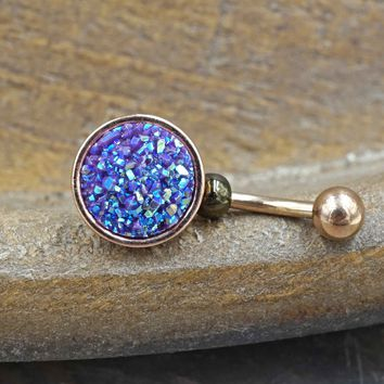 Dark Purple Druzy Rose Gold Belly Button Ring - Short Belly Button Jewellery