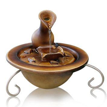 SereneLife Desktop Waterfall Fountain | Tabletop Water Decoration | Indoor, Outdoor, Patio or Garden Relaxing Tabletop Waterfall  (SLTWF30)