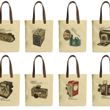 Vintage Retro Camera Beige Print Canvas Tote Bag Leather Handles WAS_30