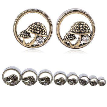 ac PEAPO2Q 1 Pair Shellhard Double Flares Ear Gauges Plugs Fashion Hollow Out Mushrooms Crystal Ear Flesh Tunnel Body Piercing Jewelry